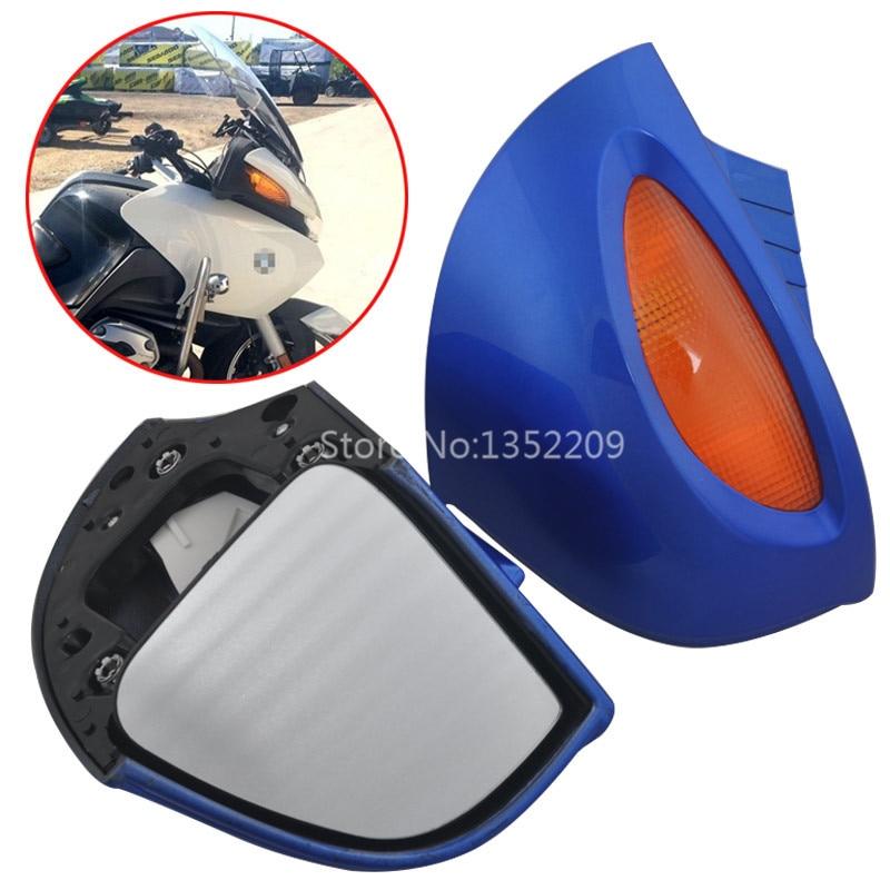 Blue Side Mirrors Set W Amber Turn Signal For BMW R1100 RT R1100 RTP R1150 RT
