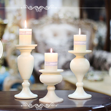 Candelabros de hierro forjado con forma de Pilar, candelabros Vintage, soporte antiguo, decoración para bodas, vela de copa A juego