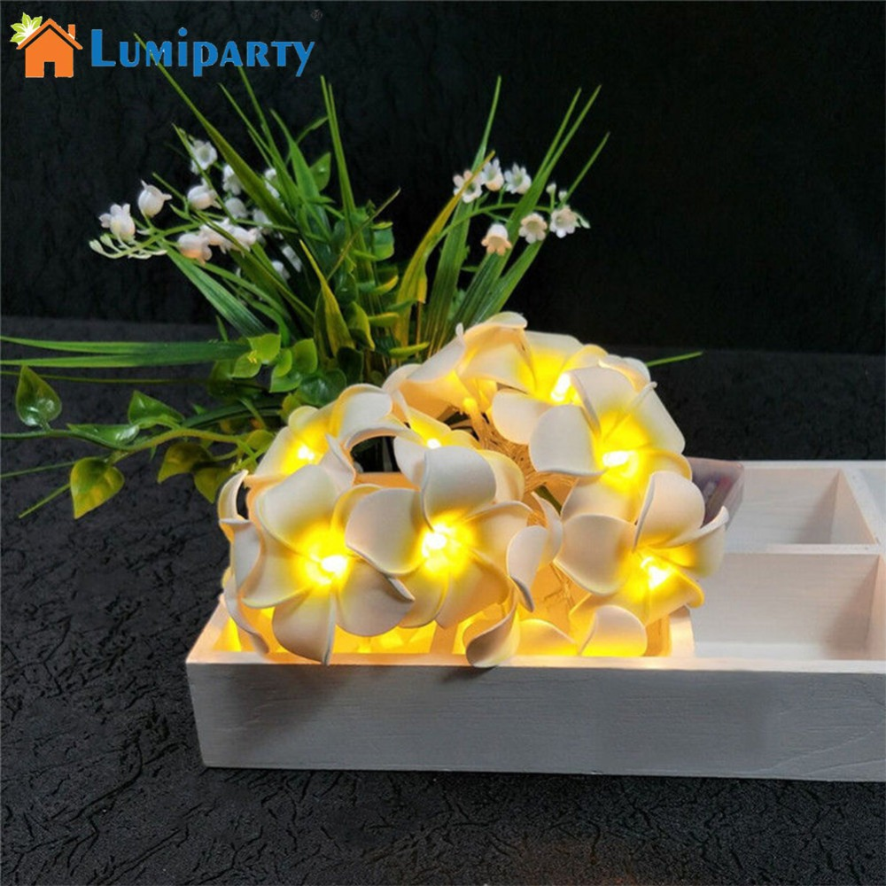 LumiParty 20 LED Plumeria Flower Fairy String Lights for Wedding Christmas Party Decorative Lighting Battery Powered jk25