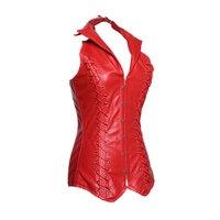 Kırmızı Moda Shapewear Deri Korse Bel Eğitmen Korseler Zayıflama İç Kontrol Üst Şekillendirme Seksi Düğme Shapewear