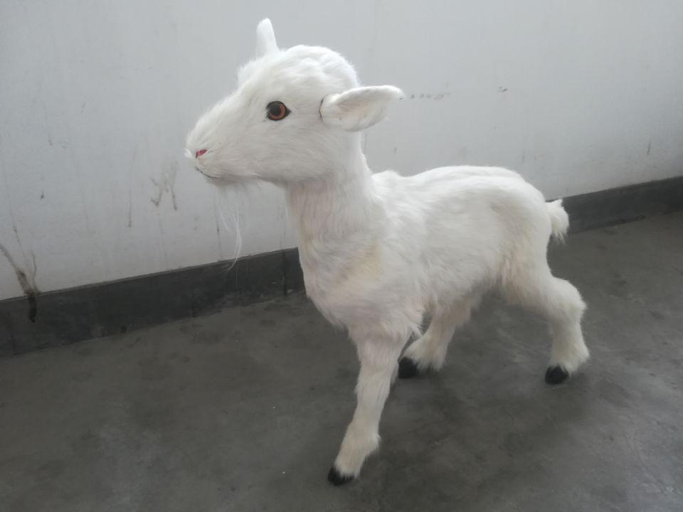 Simulation blanc de chèvre dur modèle prop grand 65x60 cm en plastique et fourrures moutons, maison jardin décoration jouet cadeau s2680