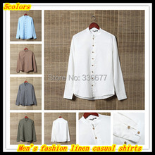 Free delivery Summer new design males's style lengthy sleeve linen/cotton informal shirts Hombres de camisa QR-1382