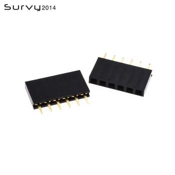 цена на 10/20/50/100PCS 6 Pin Header Socket gold plated 6Pin 2.54mm Row Straight Female Single