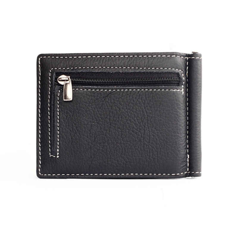 Men Soft Cow Leather Money Clip Wallet with Zipper Coin Pocket Slim Male Wallet Purse Money Dollar Holder Carteras Clips Ba072