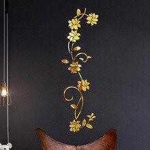 3D наклейки на стену, акриловый в форме цветка, золото, серебро, 100X30 см, модные съемные водонепроницаемые diy наклейки на стену, украшение дома
