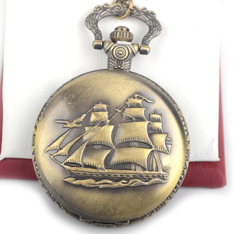 Vintage Antik Brons Fickur Segelbåt Fartyg Fartyg Design Ficka & Fob - Fickur