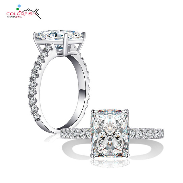Colorfish Stałe 925 Sterling Silver 3 Ct Kwadrat Cut Solitaire