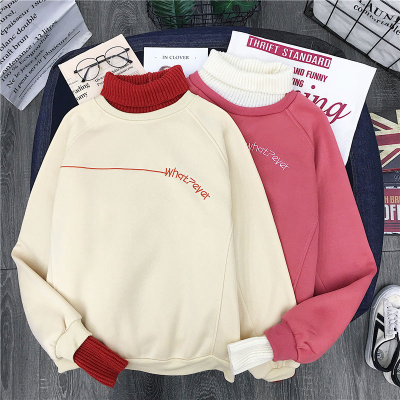 Autumn Women Sweatshirt Hoodie Korean Ulzzang Harajuku Patchwork Wool Pullover Sweatshirts Female Fleece Long Sleeve Hoodies