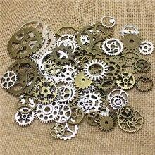 Atacado mix 100 pçs do vintage steampunk encantos engrenagem pingente de duas cores ajuste pulseiras colar