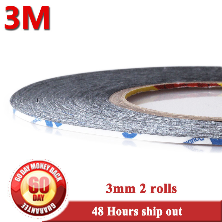 3mm Wide Double Sided Adhesive Sticky Glue Tape for Mobile Phone LCD Touch Screen Display Digitizer HTC Apple Samsung Sony Nokia 2 rolls 5mm wide 50meters original 3m black adhesive for digitizer touch screen lcd display double glue scotch sticker