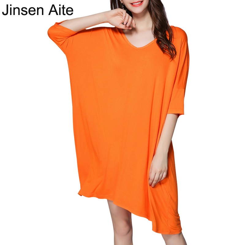 Jinsen Aite Summer New 2019 Modal Women   Nightgowns  &  Sleepshirts   V-Neck Solid Short Sleeve Casual Chemise De Nuit Nightwear 1850