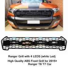 4 LED Ranger Accessories Front ABS Grill for Ranger T6 2016 FRONT RAPTOR BLACK LIT GRILLE GRILL  FOR RANGER T6 Grill with 4 LED