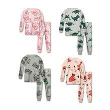 Купить с кэшбэком 2PCS Autumn Spring Boys Girls Animal Pyjamas Long Sleeve Children Sleepwear Baby Pajamas Sets  Kids Pajamas Cotton Nightwear