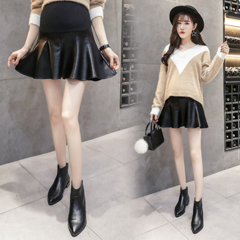 Summer PU Leather Maternity Pleated Slim Skirt Care Belly Short Skirt Elastic Waist Pregnany Clothes Leather Skirts for Pregnant trendy women s elastic waist pu leather spliced skirt