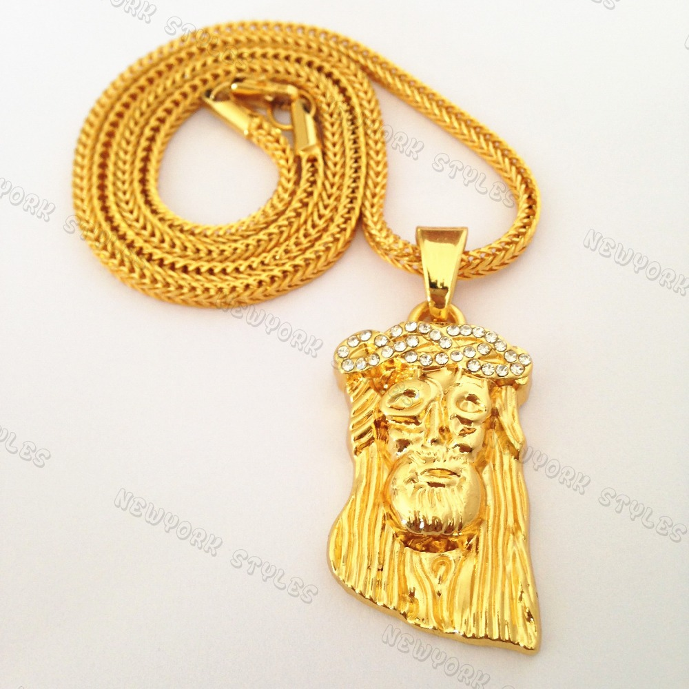 Iced Out Jesus Piece Charm Micro Pendant Necklace 24K Gold Plated ...