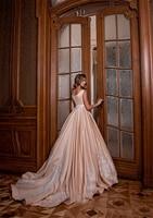 Ball Gown V neck Appliques Sash Bow Buttons Vintage Custom Made Wedding Dresses 2019 Bride Dress New Pink Wedding Dresses 2019
