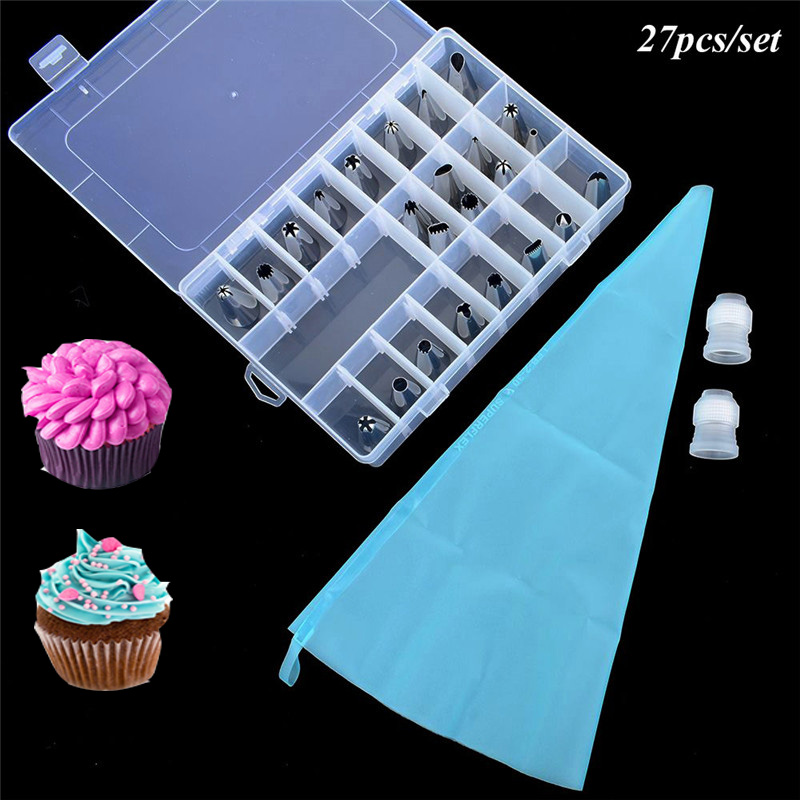 27Pcs/Set Dessert Decorators Silicone Icing Piping Cream Pastry Bag+24 Stainless Steel Nozzle Set DIY Cake Decorating Tips
