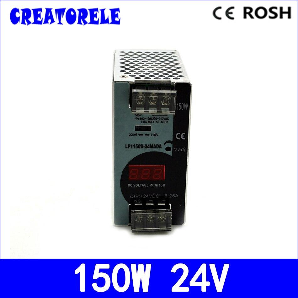 лучшая цена ac to dc 150w 24v 6.25a Mini size -Din rail LP-150-24 Digital display StrLP light Led driver source switching power supply volt