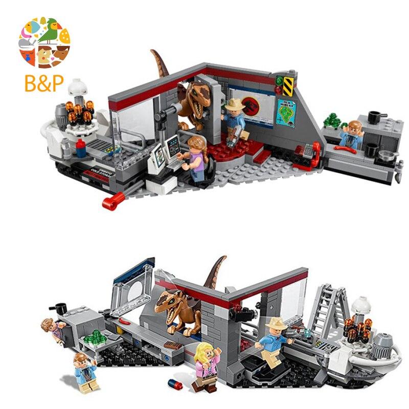 2018 New legoing 75932 378pcs Jurassic World The Velociraptor Chase Model Building Block Toys For Children Bela 10924 Gift