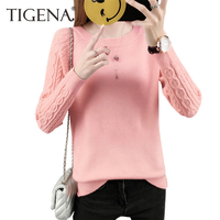 TIGENA 2017 Autumn WInter Soft Warm Women Sweaters And Pullovers Female Long Sleeve Knitted Jumper Black