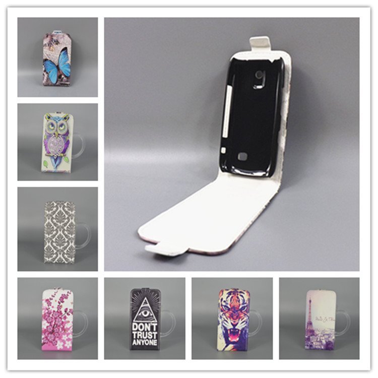 newest collection 98b9a 13fd9 US $1.68 5% OFF|For Nokia 308 309 / Asha 308 309 N308 N309Hot Pattern Cute  PrintingVertical Flip Cover Open Down/up Back Cover filp leather case-in ...