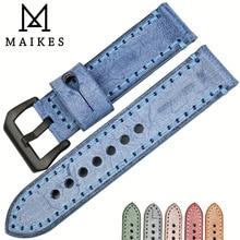 MAIKES Cor Azul de Alta Qualidade Genuína Couro de Bezerro Assista Bracelete 22mm 24mm 6 Faixas de Relógio de Cor Handmade Pulseira para Panerai