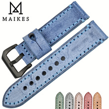 MAIKES High Quality Genuine Calf Leather Blue Color Watch Strap 22mm 24mm 6 Color Watch Bands Handmade Watchband for Panerai
