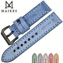 Maikes 고품질 정품 송아지 가죽 블루 컬러 시계 스트랩 22mm 24mm 6 색 시계 밴드 panerai 핸드 메이드 시계 밴드