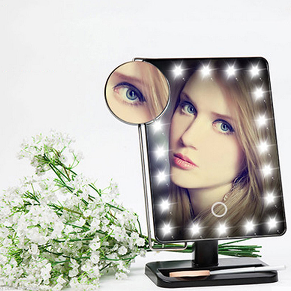 10X Magnifier Adjustable Vanity Tabletop Lamp 20 LEDs Lighted LED Touch Screen Mirror Makeup Mirror Luminous 180 Rotating Mirror 22 led touch screen makeup mirror 10x magnifier bright lighted cosmetic makeup mirror portable vanity countertop 180 rotating