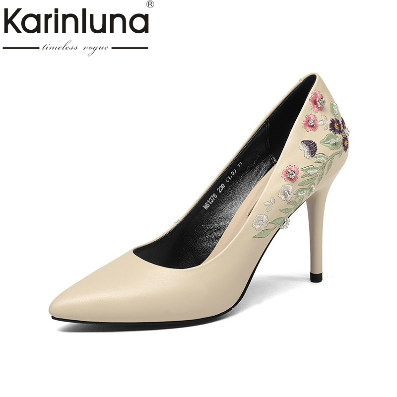 KarinLuna 2018 Spring Autumn Fashion Embroider Cow Leather Women Pumps Shallow High Heels Ol Shoes Woman Flower Lady Shoe siketu 2017 free shipping spring and autumn women shoes fashion sex high heels shoes red wedding shoes pumps g107