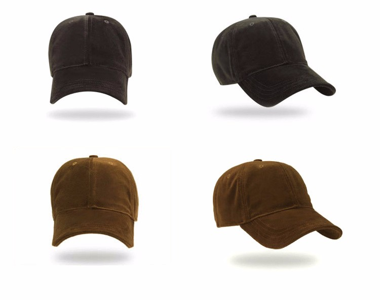 Soft Corduroy Baseball Cap - Army Green Cap and Brown Cap Front and Front Angle Views