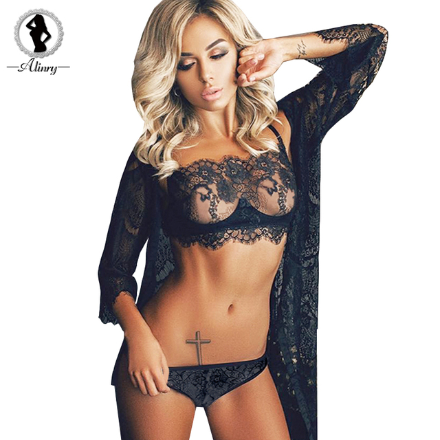 c47f72209c ALINRY lace sexy bra panty set women full cup push up lingerie bralette  wire free plus size transparent thin intimate underwear
