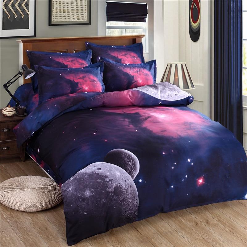 3d Galaxy Bedding Set Duvet Cover Set Universe Outer Space Themed pillowcase duvet cover flat Sheet 2PCS/3pcs/4pcs queen Twin