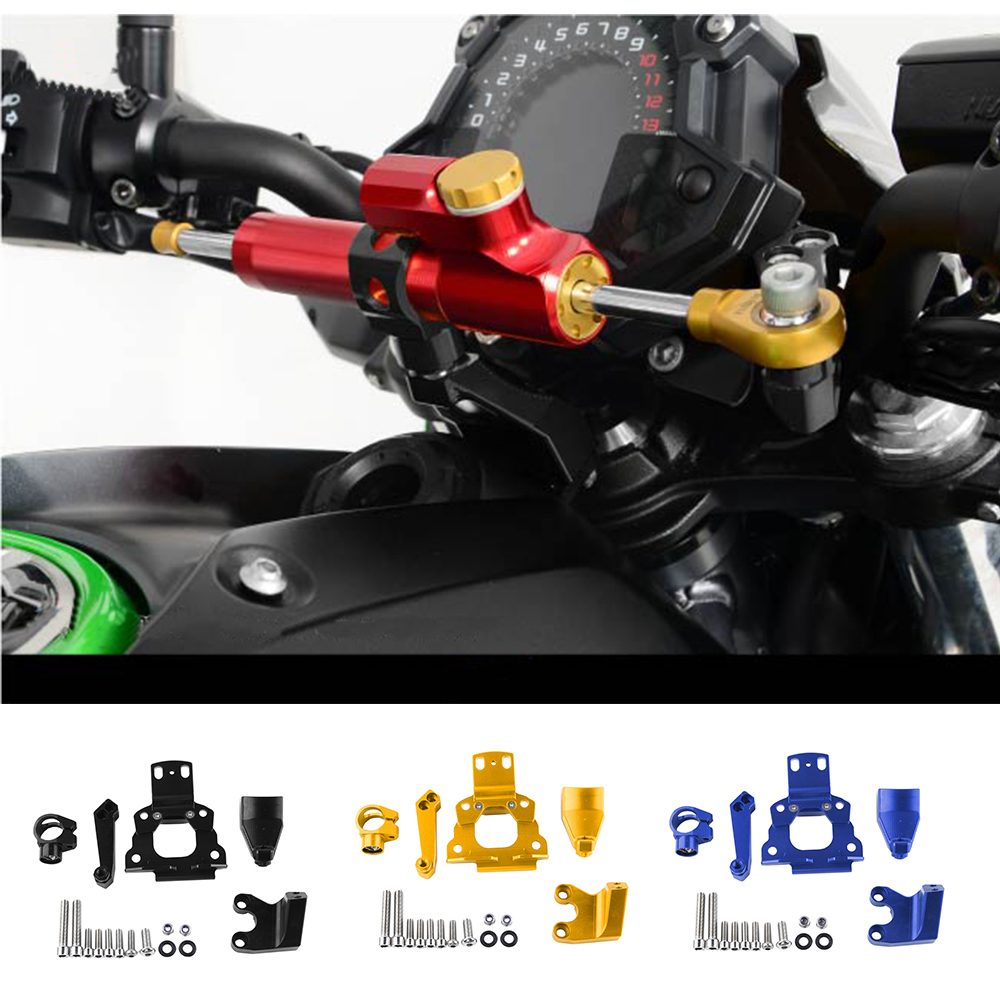 Motorcycle Accessories CNC Aluminum Adjustable Steering Damper Stabilizer Bracket Mount Kit For Kawasaki Z650 2017