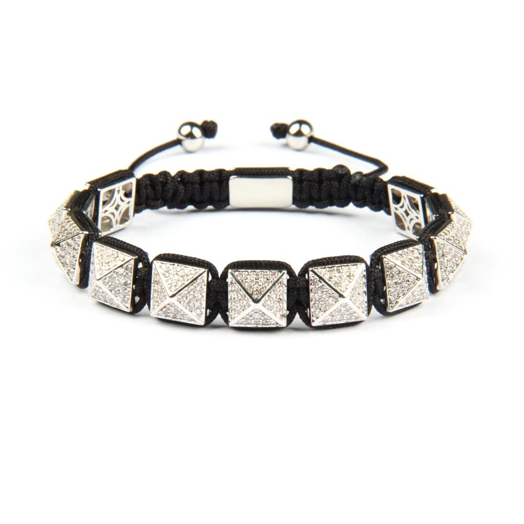 Ailatu Luxury Men Micro Pave Clear CZ Silver Pyramid Braiding Bracelet Men Gift 10x10mm Top Quality