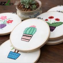 한 수 제 Round Frame Cross Stitch Kit 식물 & 꽃 Cross Stitch (eiffel tower) 패턴 카운트 된 자 수 추가 계수 Cross Stitch smd, smt) 패키지 DIY(China)