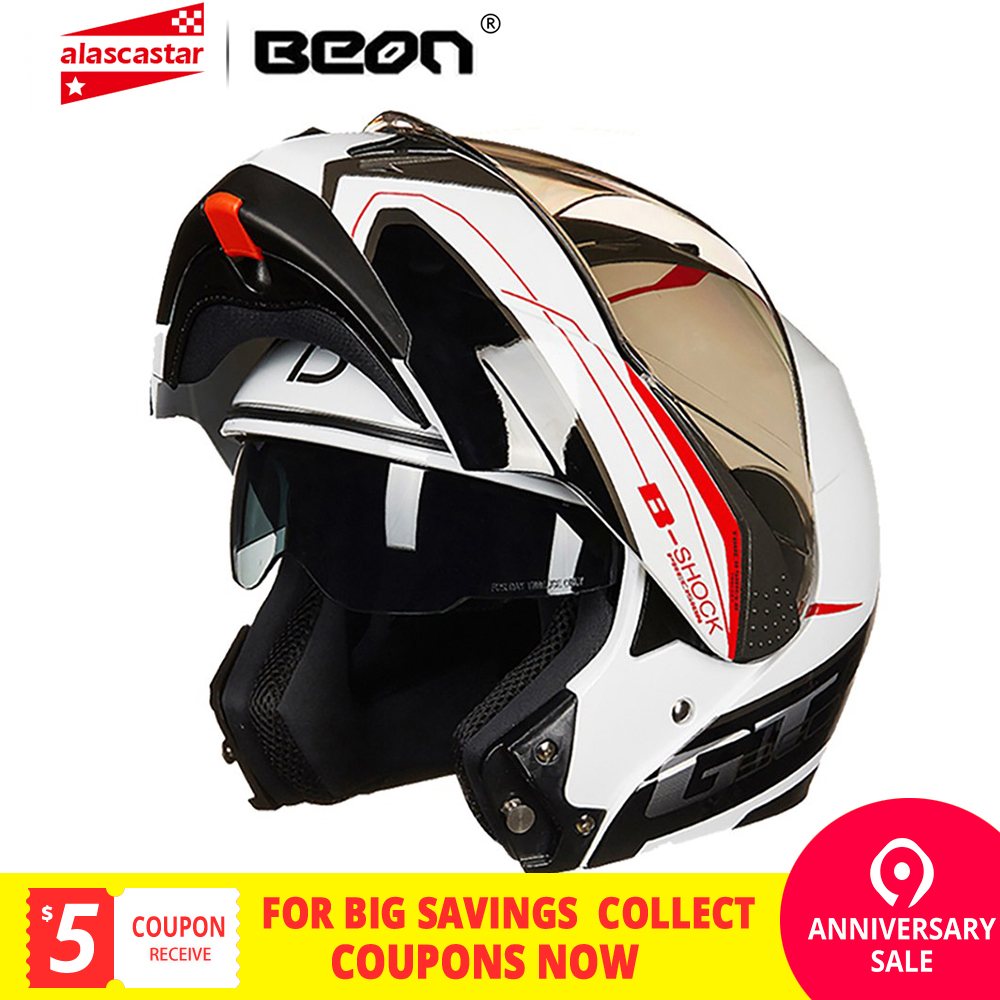 BEON Moto Casque Casco Moto Filp Up Moto Capacete Double Visor Plein Visage motocross course Moto Casque Pour homme femme