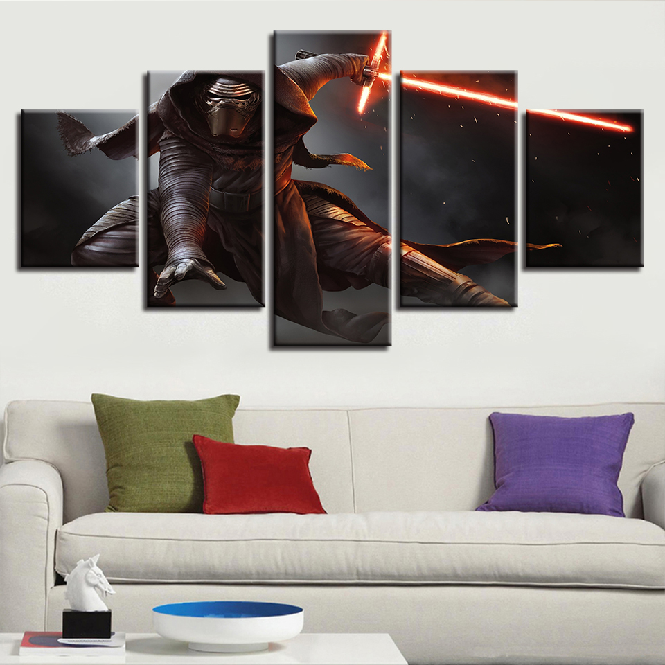 For Living Room Modern HD Printed Wall Art Pictures 5 Panel Star Wars Character Home Decor Framework Canvas Painting Posters image