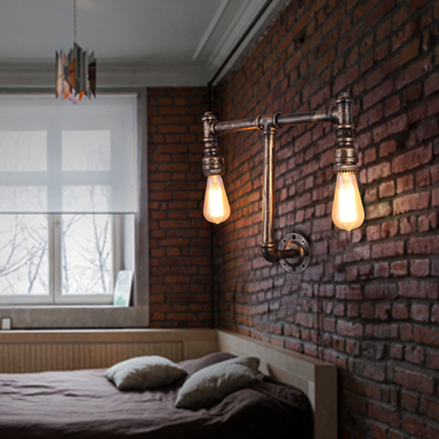 Industrial Pipe Wall Light: Vintage Industrial Water Pipe Wall Lamps Loft Wall Light