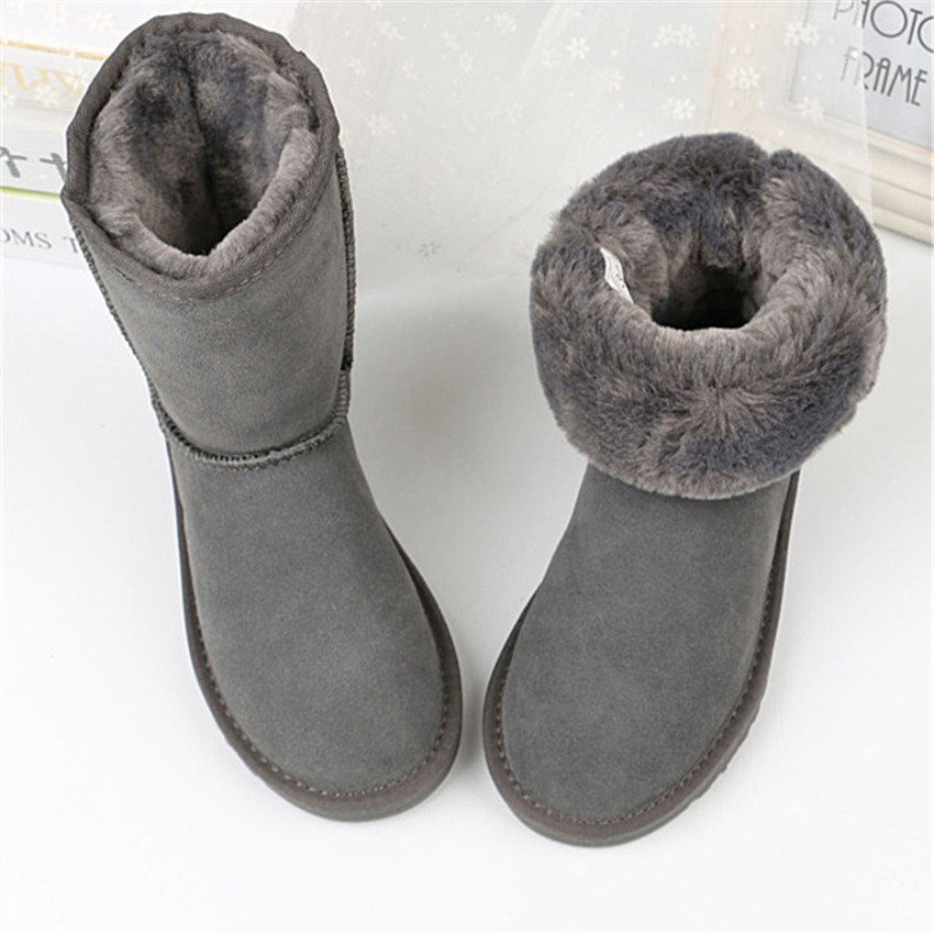 grwg 2018 New Nice 100% Genuine Sheepskin Leather Woman Snow Boots Natural Boots Warm Wool For Women's Winter Boots