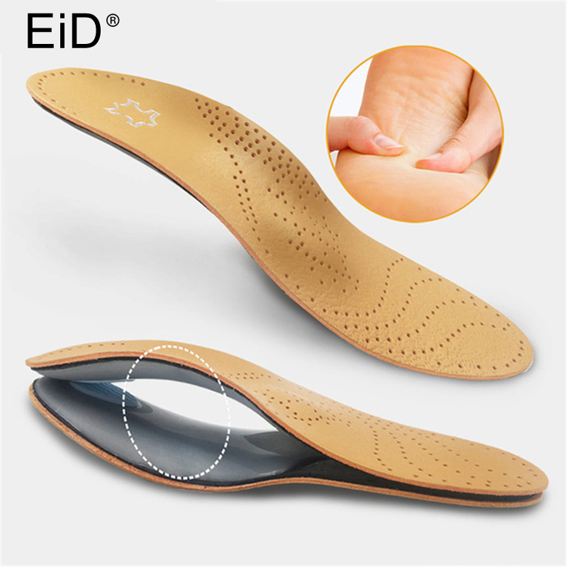 Uni Premium Leather Orthotic Flat Foot Shoe Insoles High Arch Support Orthopedic Pad for Correction OX Leg Health foot Care