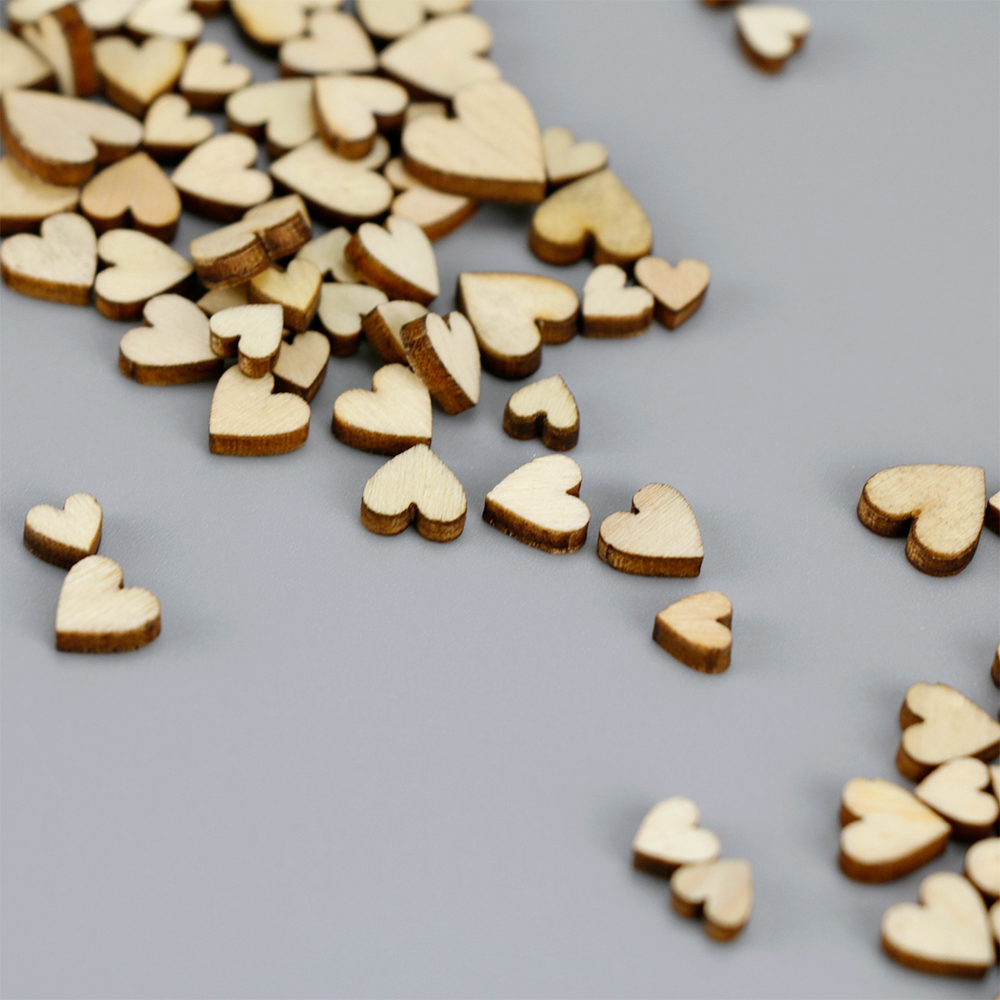 100pcs/bag 4 Sizes Mixed Rustic Wooden Love Heart Wedding Table Scatter Decoration Craft Accessories Party Home Decor