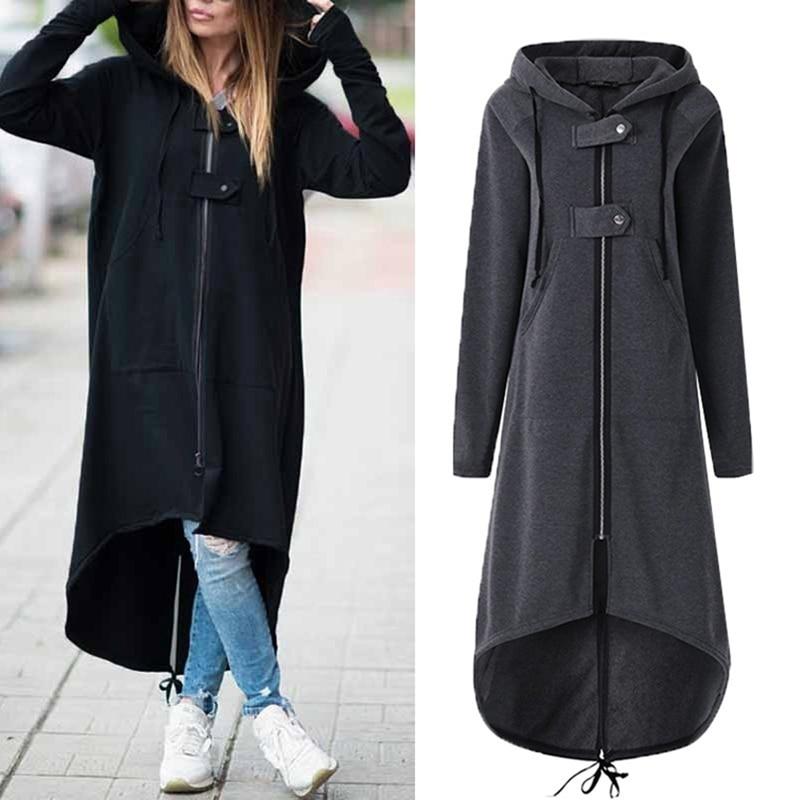 Autumn Winter Female Zipper Warm Hooded Irregular Long Overcoat Fashion Women   Trench   Coat Long Sleeve Windbreaker Outwear