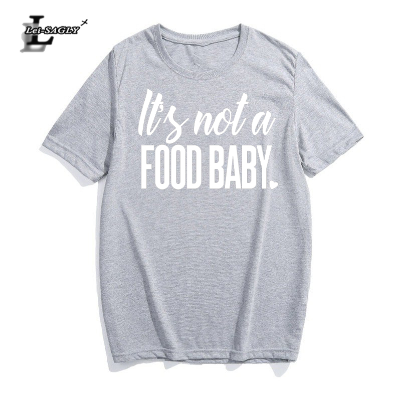 Lei-SAGLY Womens Pregnancy Announcement T-Shirt Its Not A Food Baby Funny Streetwear Pri ...