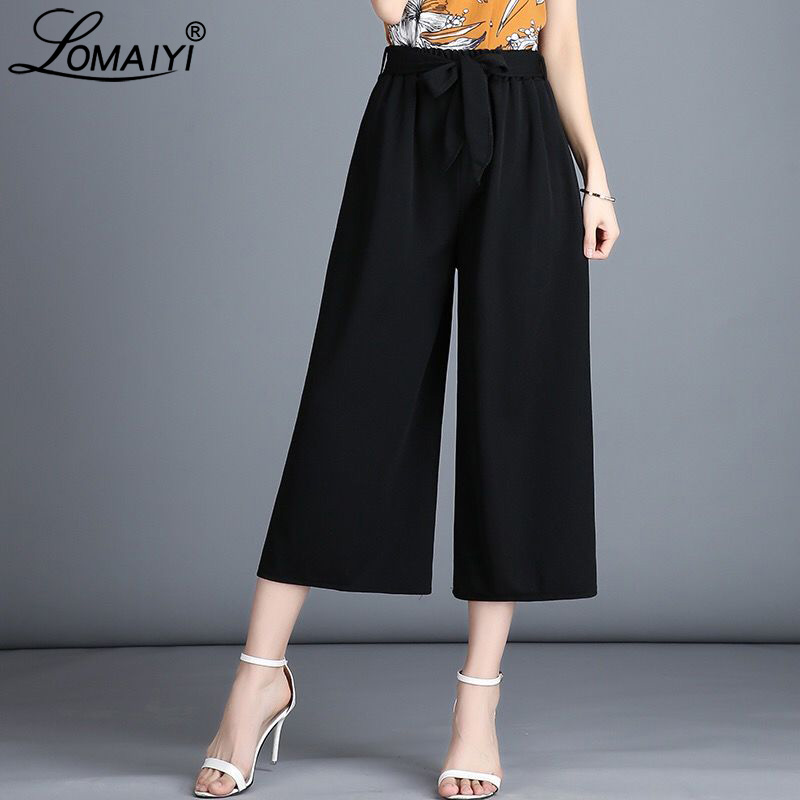 LOMAIYI 2019 Summer   Pants   Women High Waist Plaid   Pants   Black Women's Trousers Ladies   Wide     Leg     Pants   Female Loose Trousers BW039