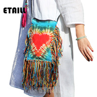 ETAILL Red Heart Print Small Boho Indian Thailand Bag with Long Tassel Women Handmade Bohemian Crossbody Bags for Women 2018