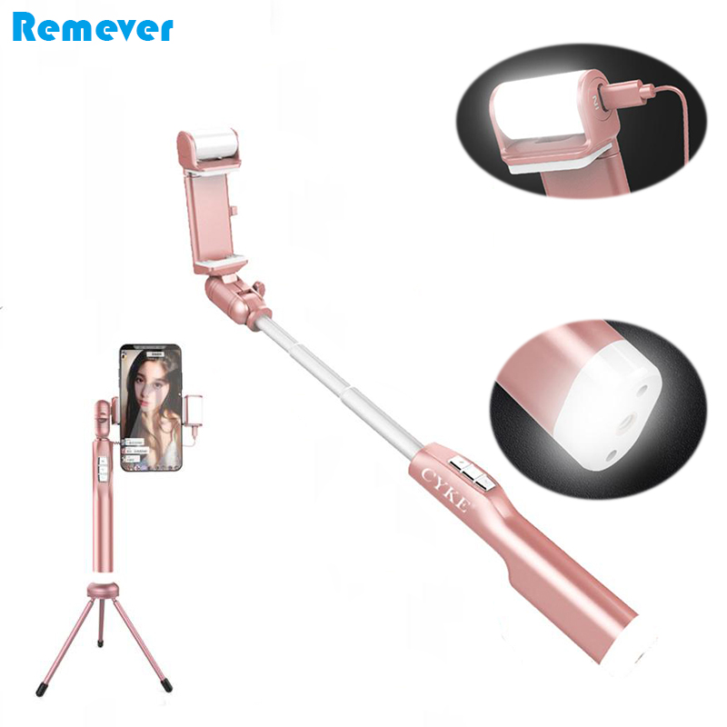 Mini Bluetooth Selfie Stick With LED Fill Light Tripod For SmartPhone Extendable Monopod for Iphone 8 Xiaomi Samsung Android
