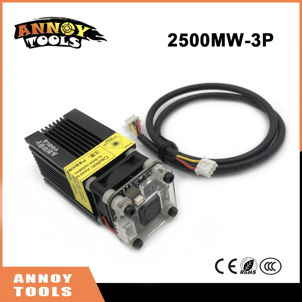 2500mW 445nm 12V Laser Engraving Machine Part Laser Head Laser Module, with TTL PWM, can ...