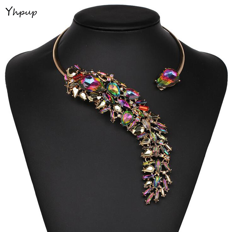 Yhpup 5 Colors Punk Fashion Luxury Brand Crystal Choker Necklace Leaves Torques Collar Female Wedding Statement Dress Necklace