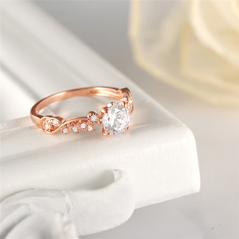 2018 New Rose Gold Color Rings Fashion Retro Flower Cubic Zirconia Engagement Thin Ring Jewelry For Women Dropshipping 4